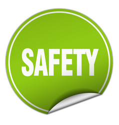 Safety round green sticker isolated on white vector