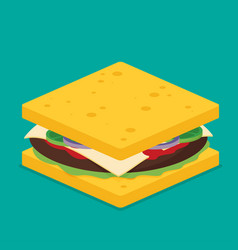 sandwich isometric style vector image vector image