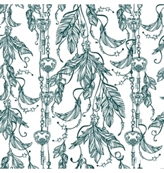 Seamless boho pattern of a feathers and keys vector