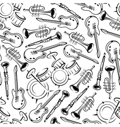 Seamless jazz musical instruments pattern vector image vector image