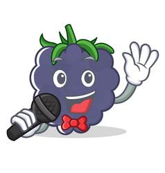 Singing blackberry character cartoon style vector