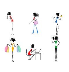 Six modern girls vector