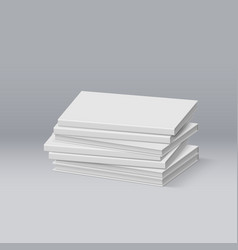 Stack of blank white books presentation of your vector
