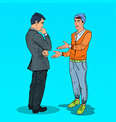 Stylish teenager talking with his father pop art vector