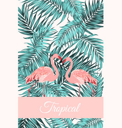 tropical card jungle leaves flamingo birds couple vector image vector image