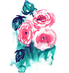 watercolor and ink of blossom vector image vector image