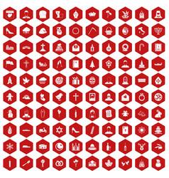 100 church icons hexagon red vector