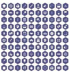 100 libra icons hexagon purple vector