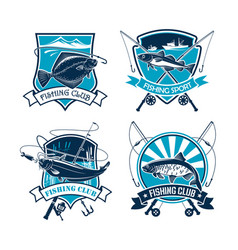 Fishing sport club icons set vector