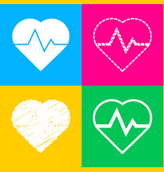 Heartbeat sign  four styles of icon vector