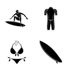 Surfer wetsuit bikini surfboard surfing set vector