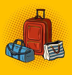 travel bags pop art vector image
