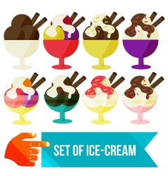 Set of ice cream in a bowl vector