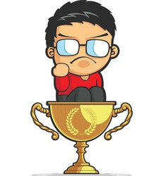 Kid making success fist on achievement trophy vector