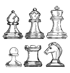 set of chess vector image
