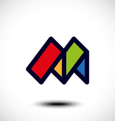 Abstract letter m icon vector