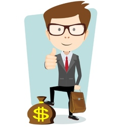 Businessman with a bag of currency vector