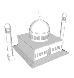3d mosque silhouette in night sky with vector