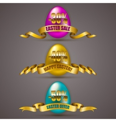 Set of easter eggs with ribbons vector