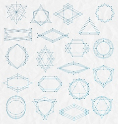 Set of Line art hipster frames on a creased paper vector image