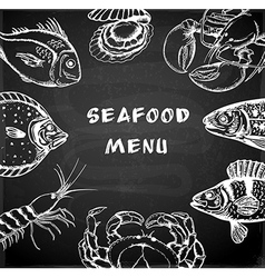 Vintage hand drawn seafood menu vector