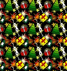 Cartoon christmas seamless pattern vector