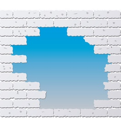 Broken gray brick wall vector