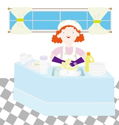 Mom on the kitchen vector