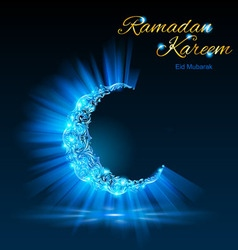 Greeting card of holy muslim month ramadan in blue vector