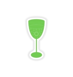 Paper sticker on white background wineglass ring vector
