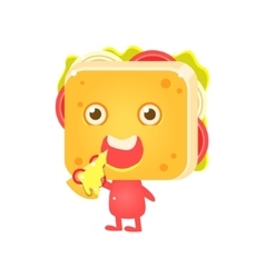 Sandwich character eating pizza vector
