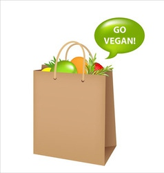 bag with vegan food vector image vector image