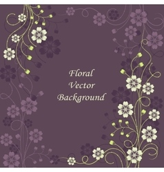 Beautiful floral pattern on violet background vector image vector image