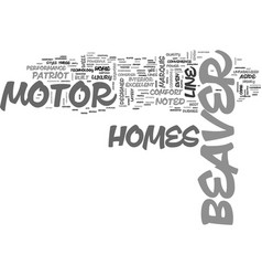 Beaver motor home text word cloud concept vector