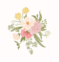 Bouquet of spring flowers vector