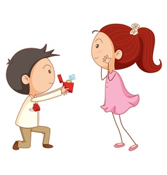 Cartoon Marriage proposal vector image