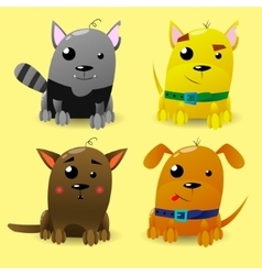 Cat and Dog characters Cartoon styled vector image