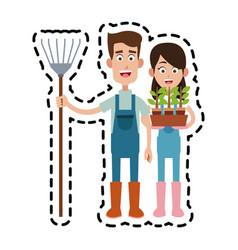 Farmer cartoon icon imag vector