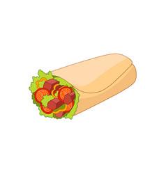Fast food roll shawarma taco vector