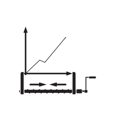 Flat icon in black and white economic graph vector