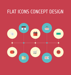 flat icons trolley shop label and other vector image