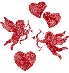 Floral cupids and hearts vector