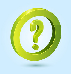 Green question symbol isolated on blue background vector