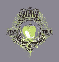 Grunge Skull Print 2 vector image