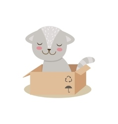 Little Girly Cute Kitten Sitting In Cardboard Box vector image vector image