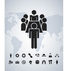 Pictogram and map icon businesspeople design vector