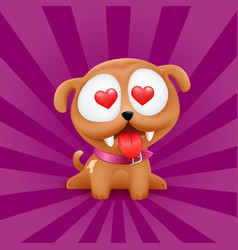 Puppy in love character sitting vector