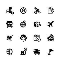 shipping and tracking icons vector image