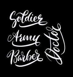 Soldier and army hand written typography vector