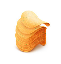 Stack of potato crispy chips on white background vector